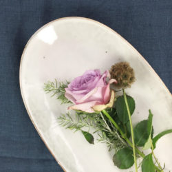nordic sand oval plates with flowers