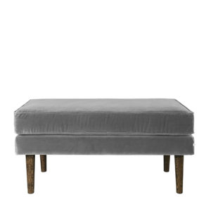 Light Grey Velvet Footstool Broste Copenhagen